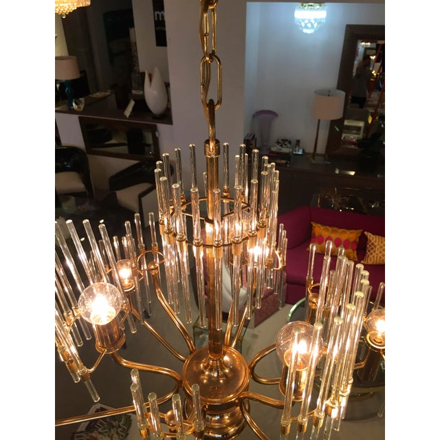 Sciolari Crystal Rod and Brass Chandelier - Image 7 of 7