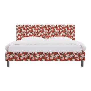 King Tailored Platform Bed in Red Belle Du Jour For Sale