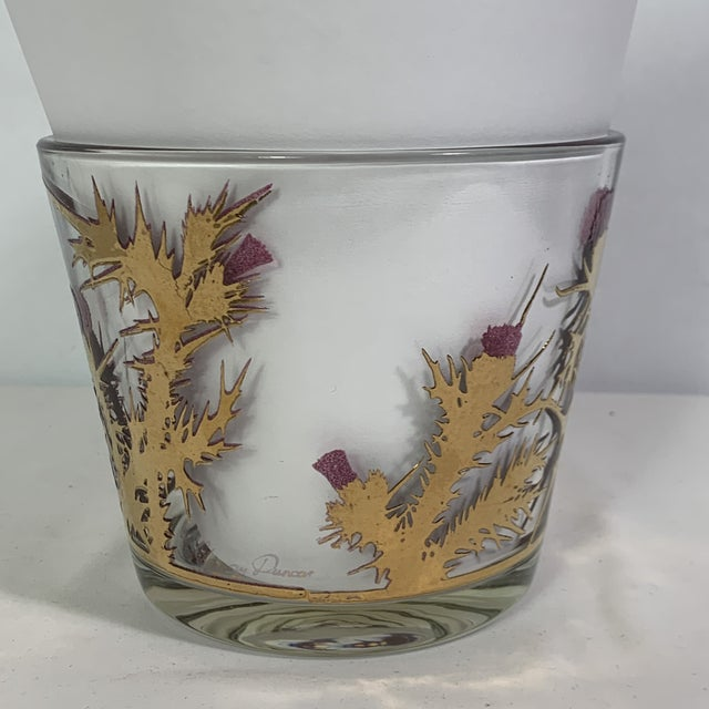 Mid-Century Modern Gregory Duncan Purple Gold Thistle Barware Ice Bucket & Highball Glasses - Set of 6 For Sale - Image 4 of 13