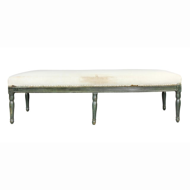 Wood French Restauration Green Painted Bench For Sale - Image 7 of 8