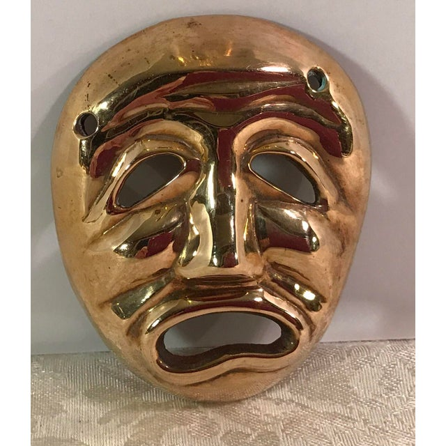 Mid-Century Modern Brass Tragedy Mask - Image 2 of 9