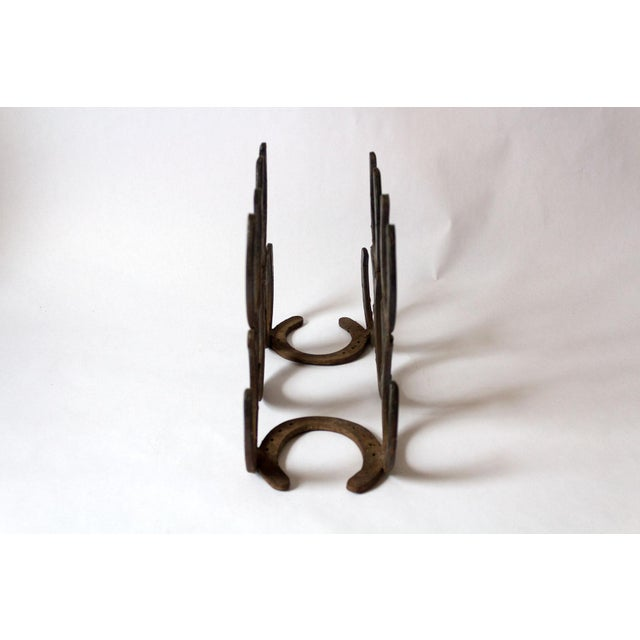 Rustic Vintage Horseshoe Wine Rack For Sale - Image 3 of 8