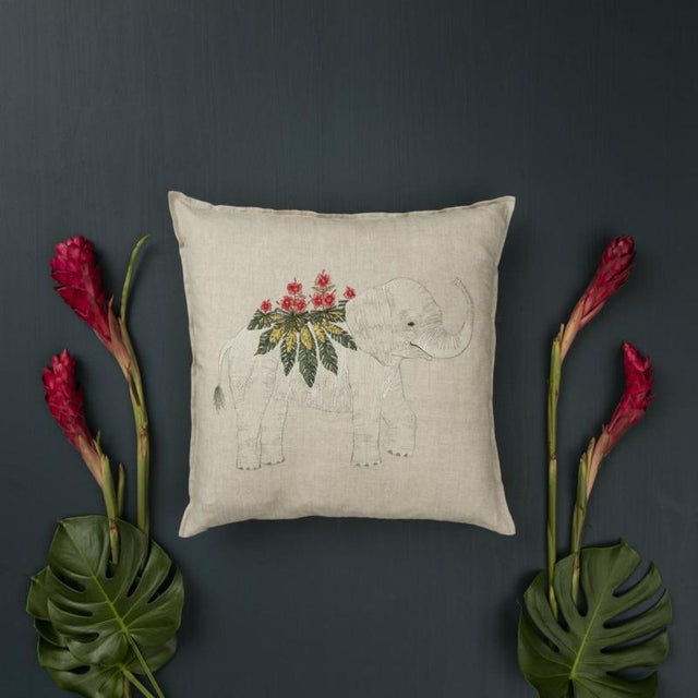 Boho Chic 2010s French Ecru Linen Benevolent Elephant Pillow For Sale - Image 3 of 4