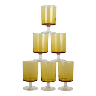 Vintage French Amber Yellow Drinking Glasses - Set of 6