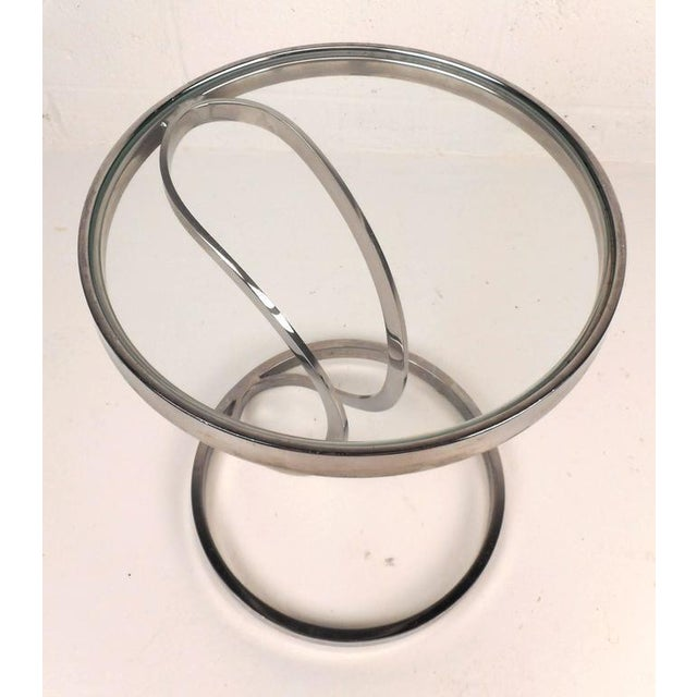 Contemporary Modern Circular Chrome and Glass End Table - Image 5 of 6