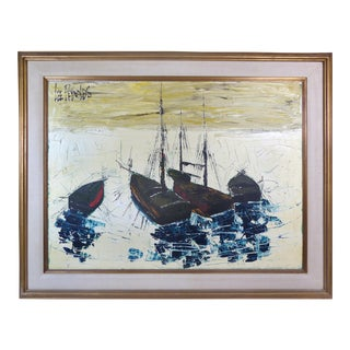 Mid-Century Modern Small Sailboats Painting by Lee Reynolds For Sale