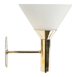 1950s Italian Glass & Brass Cone Sconce For Sale