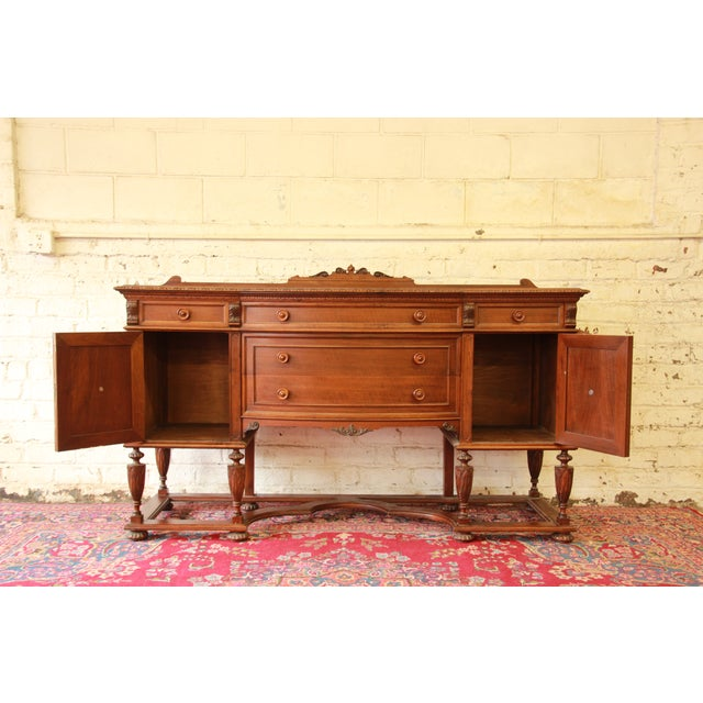 Vintage Carved Mahogany Sideboard Buffet - Image 5 of 8