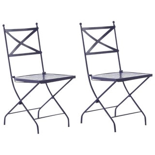 French Vintage Style Bistro Folding Iron Chair