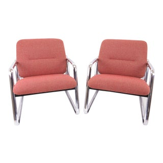 Vintage 1980s Steelcase Chrome Lounge Chairs - a Pair For Sale