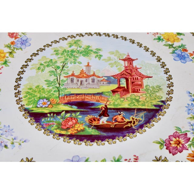 Gold Vintage Chinoiserie Tole Floral Red and Gold Circular Tray For Sale - Image 8 of 12