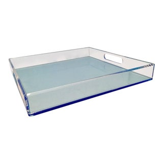 Modern Lucite Two-Tone Cut-Out Handle Tray