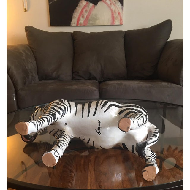 White Italian Terra Cotta Zebra For Sale - Image 8 of 9