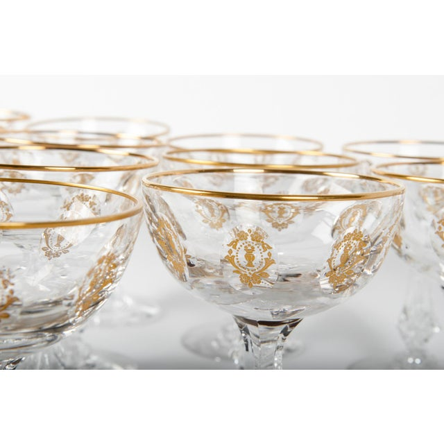 Contemporary Vintage Set 15 Cut Crystal Champagne Coupes/Martini For Sale - Image 3 of 5