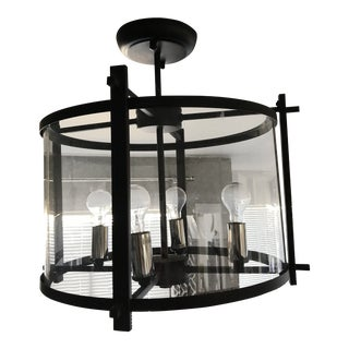 Industrial Style Wrought Iron Chandelier For Sale
