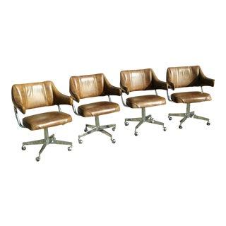 Howell Chrome & Padded Vinyl Mid-Century Modern Swivel Chairs - Set of 4