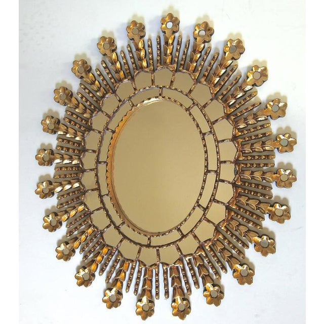 Sunburst Giltwood Oval Spanish Colonial Wall Mirror For Sale - Image 9 of 10