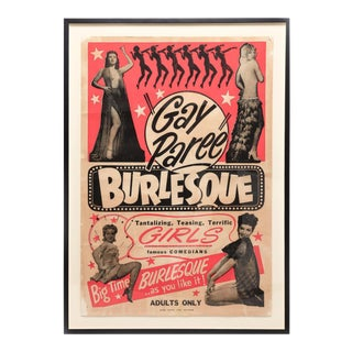 """Vintage 1940s """"Gay Paree"""" Burlesque Poster For Sale"""