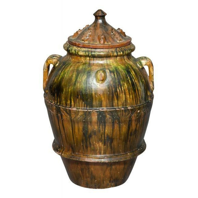 Traditional Green and Brown Glaze Large Covered Terracotta Garden Jar, Asian For Sale - Image 3 of 3