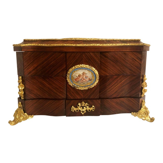 Museum Quality Antique French Napoleon III Sevres Mounted Kingswood and Ormolu Traveling Box Made by Ebeniste, Alphonse Giroux. For Sale