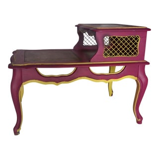 Vintage Arts & Crafts Hand Painted Pink & Yellow Side Table For Sale