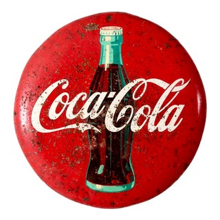 Coca-Cola Button Sign Circa 1950s For Sale