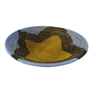 African Artisan Woven Centerpiece Basket For Sale