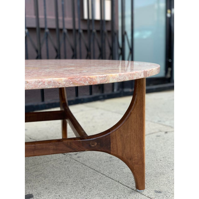 Rose Marble Top With Walnut Base Coffee Table For Sale - Image 10 of 13
