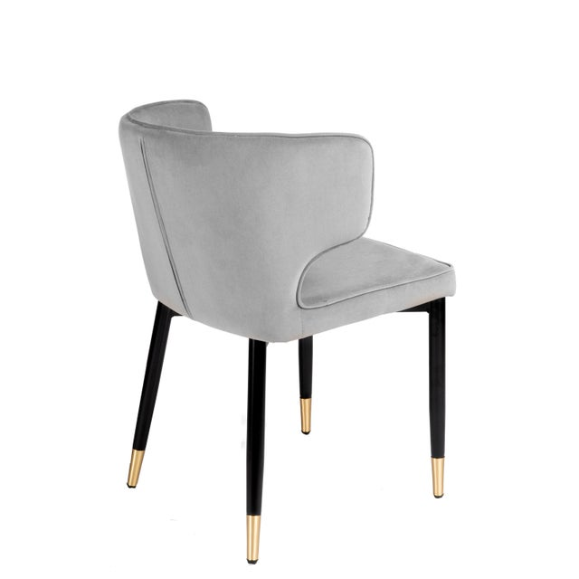 Contemporary Kayla Upholstered Dining Chairs in Gray Velvet - a Pair For Sale - Image 4 of 7