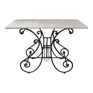 French 19th Century Wrought-Iron and Marble-Top Pastry Table For Sale