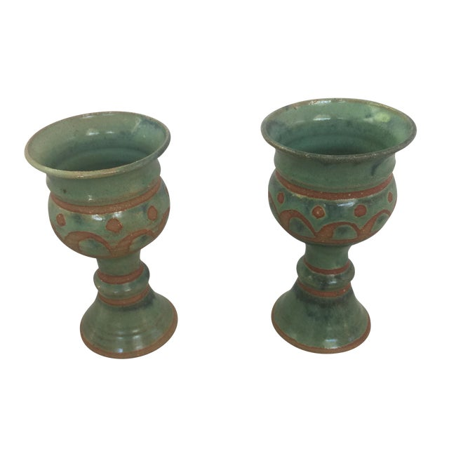 Mid-Century Challis/Goblet Pottery - Pair - Image 1 of 7