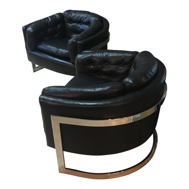 Milo Baughman Mid Century Chrome Barrel Chairs - A Pair For Sale