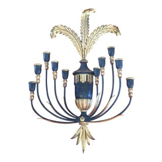 Antique Italian 10 Arm Gilt and Wood Candle Sconce For Sale