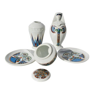 Treasures of the Pharaohs Porcelain Group by Elizabeth Arden - Group of 7 Pieces For Sale