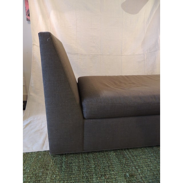 Mid-Century Modern Crate and Barrel Chaise Lounge in Brown Linen For Sale - Image 3 of 12