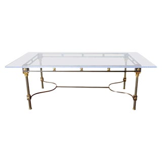 Maison Jansen Steel Brass Neoclassical Style Dining Table For Sale