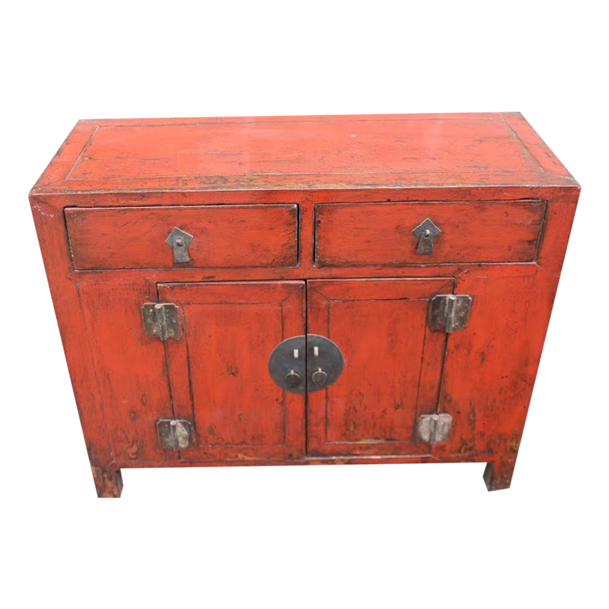 Antique Red Lacquer Entry Table For Sale