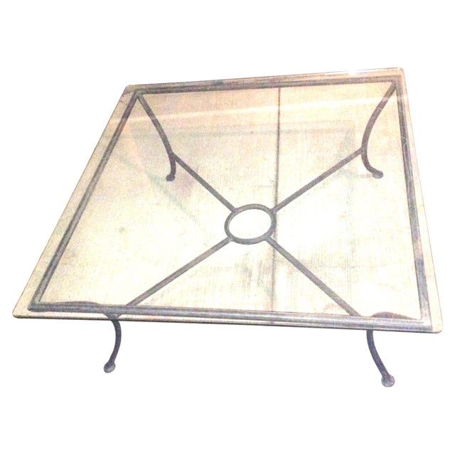 Vintage Crate & Barrel Coffee Table W Glass Top For Sale