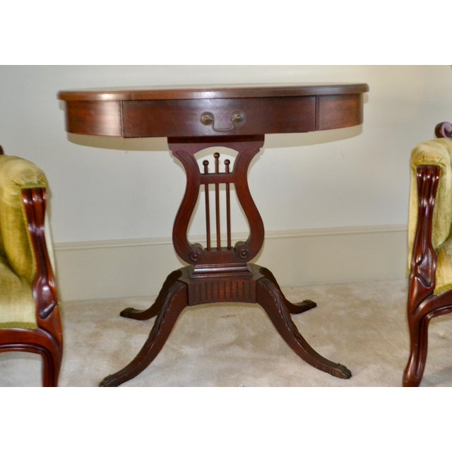 1943 Kimball Harp Table Solid Mahogany For Sale - Image 10 of 11