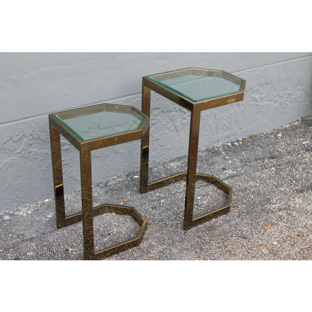 Mid-Century 2 Tier Brass Glass Nesting Tables - A Pair - Image 7 of 11
