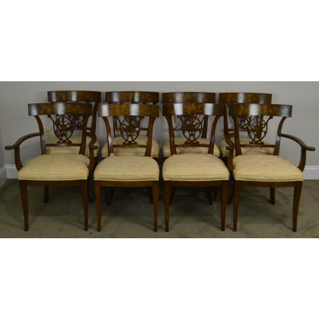 "High Quality American Set of 8 Solid Wood Frame Vintage Dining Chair with Hand Painted Accents MEASUREMENTS: H: 34"" x W:..."