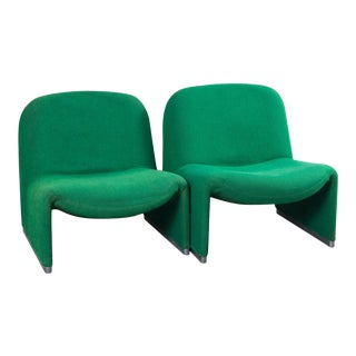 Pair of Green Alky Chairs by Giancarlo Piretti for Castillo, 1970s For Sale