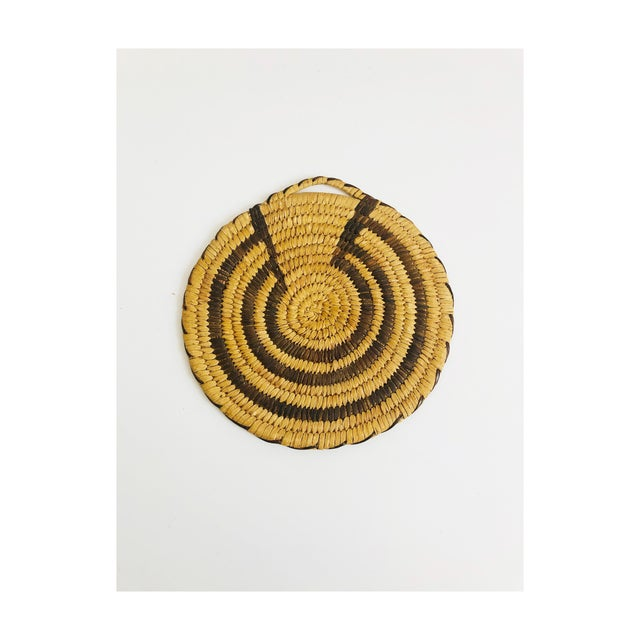 Vintage Native American Tohono O'Odham Two Tone Wall Coil Basket Wall Hanging For Sale In San Francisco - Image 6 of 6