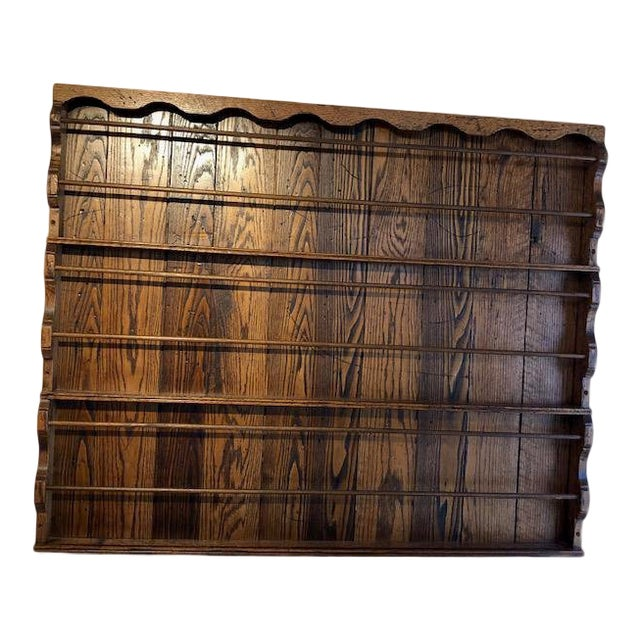 Vintage Country Walnut Stained Oak Plate Rack