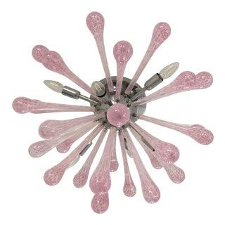 Pink Murano Glass Sputnik Flush Mount For Sale