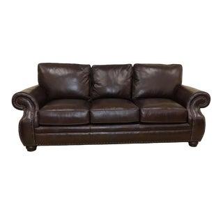 Bernhardt Furniture Genuine Leather Sofa With Nailhead Trim For Sale