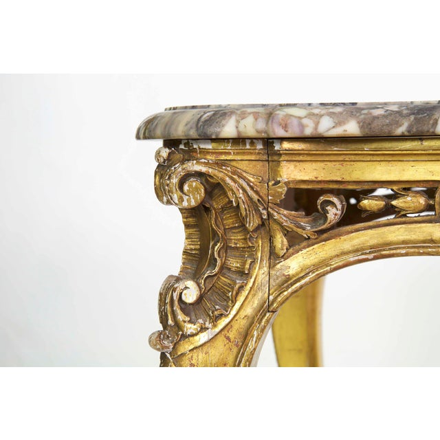 19th Century French Louis XV Style Giltwood Center Table circa 1870 For Sale - Image 6 of 11
