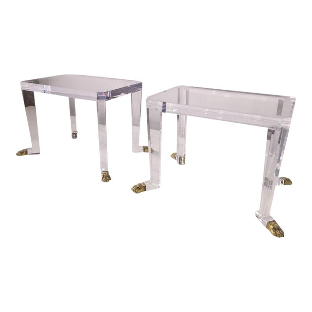 Gold Pair of Custom Designed Lion Feet on Acrylic Side Tables For Sale - Image 8 of 8