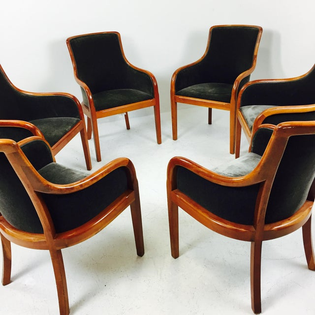 Transitional Mohair & Cherry Wood Zographas Chairs - A Pair - Image 7 of 8