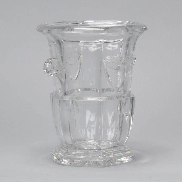 Circa 1900 large French all crystal ice bucket features a stepped base with cut starburst on the bottom, etched decoration...